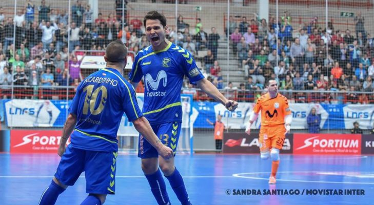 Los jugadores de Movistar Inter celebrando un gol